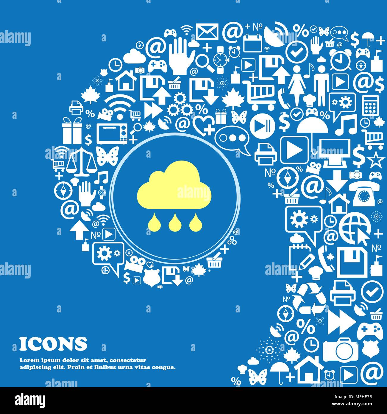 cloud rain icon . Nice set of beautiful icons twisted spiral into the center of one large icon. Vector illustration Stock Vector