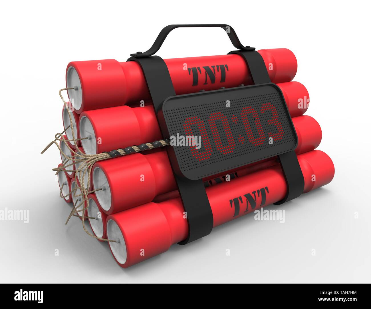 3d Illustration 3d Rendering Of Tnt Dynamite Bomb With A Timer Isolated On White Studio